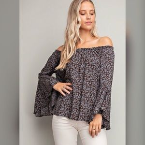Off Shoulder Floral Bell Sleeve Top